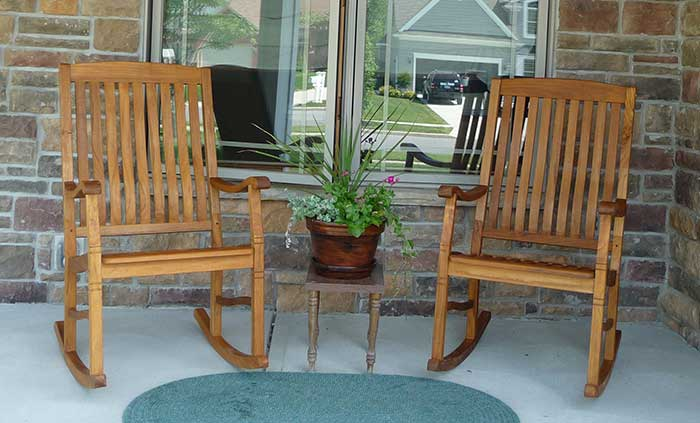 Newly Oiled Teak Rocking Chairs