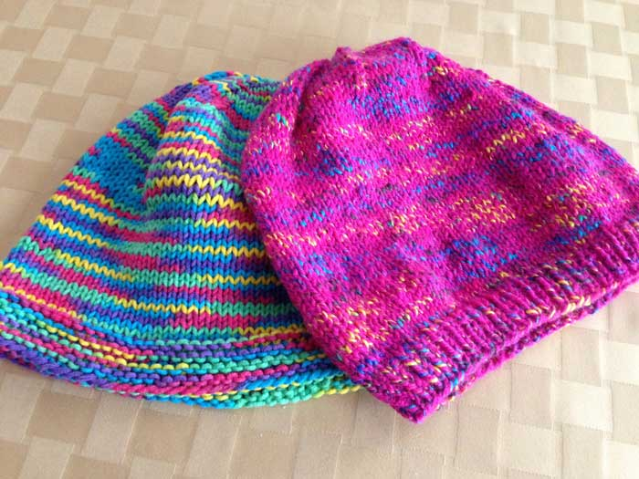 Knitting basic hats